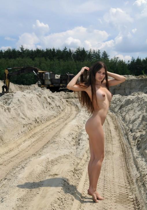 Construction site public nude